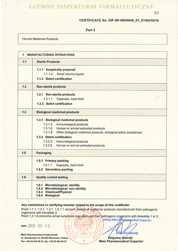 Certificates instytut biotechnologii biomed producent gmp certificate p 2 thecheapjerseys Image collections