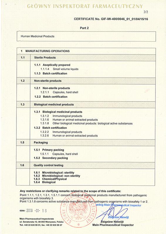 Certificates instytut biotechnologii biomed producent gmp certificate p 2 altavistaventures Images